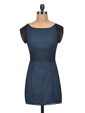 Blue Polka Dotted Poly Georgette Dress - By