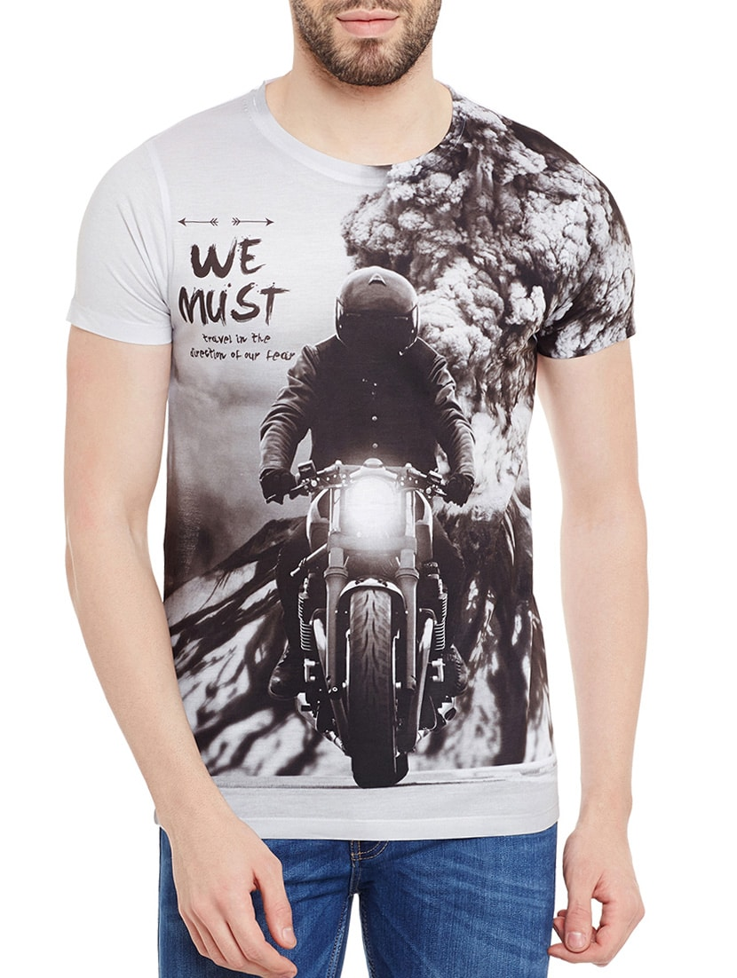 93bfbc325 Buy Grey Polyester Graphic Printed T-shirt for Men from Wear Your Mind for ₹ 713 at 35% off   2019 Limeroad.com