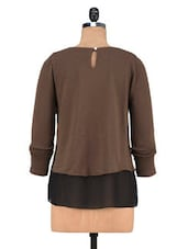 Brown Poly Cotton And Poly Georgette Layered Sweatshirt - By