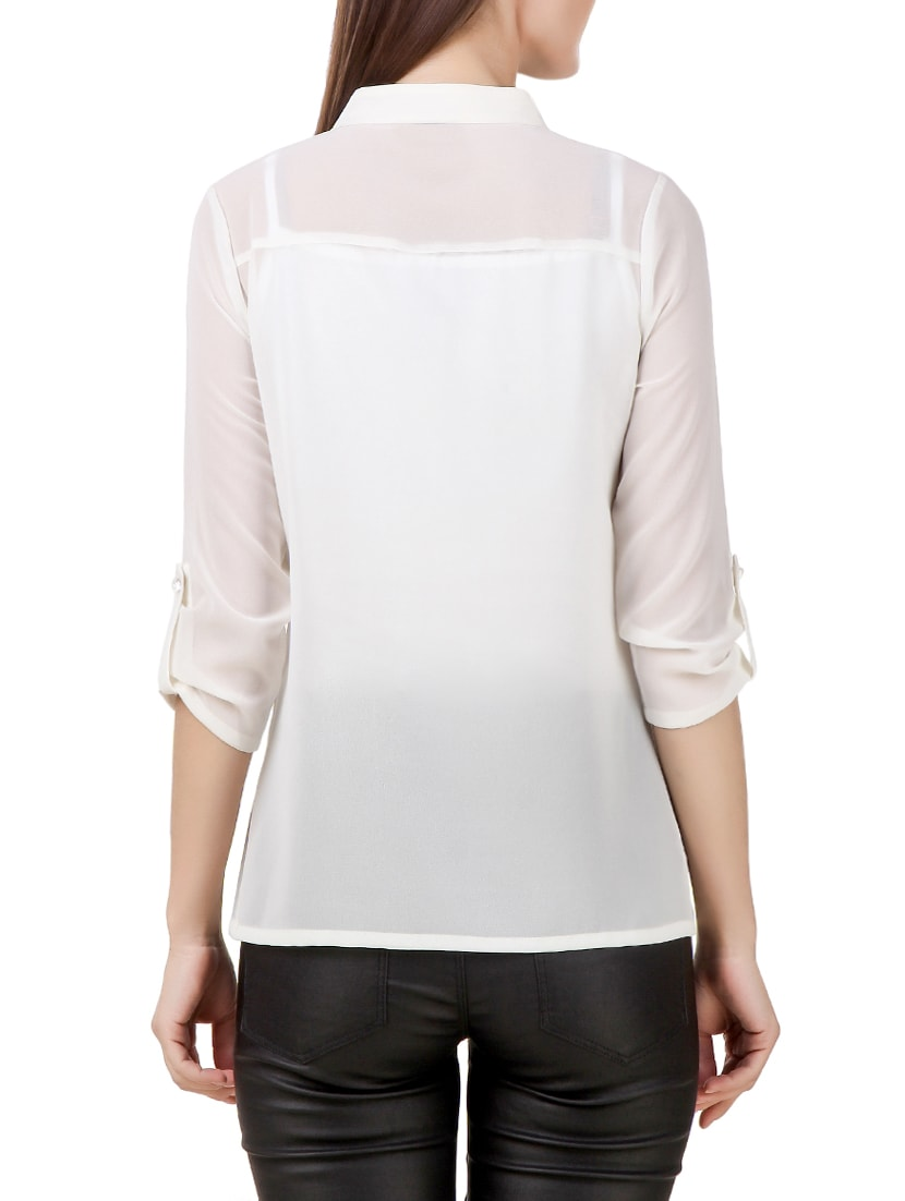 20e56835ca2eea Buy White Polyester Ruffle Top by Texco - Online shopping for Tops in India