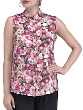 Pink Polyester Polycrepe Flower Print Top - By