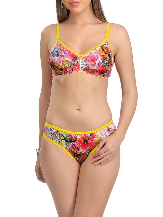 53372dec8 Buy Multicolored Cotton Bra And Panty Set Of 2 for Women from Selfcare for  ₹670 at 44% off