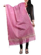 Pink Color Block Printed Chanderi Dupatta - By