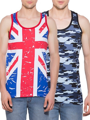 multi colored set of 2 printed cotton vest -  online shopping for Vests