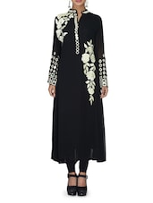 Black Embroidered Flared Georgette Kurta - By
