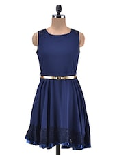 Navy Blue Georgette Asymmetrical Hem Cocktail Dress - By