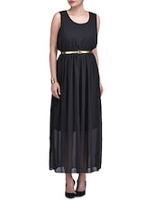 Black Georgette Sleeveless Maxi Dress - By
