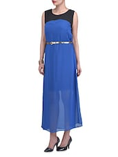 Blue And Black Georgette Long Dress - By