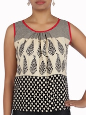Black And Cream Cotton Printed Top - By