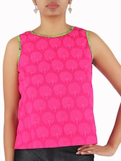Pink Cotton Printed Sleeveless Top - By