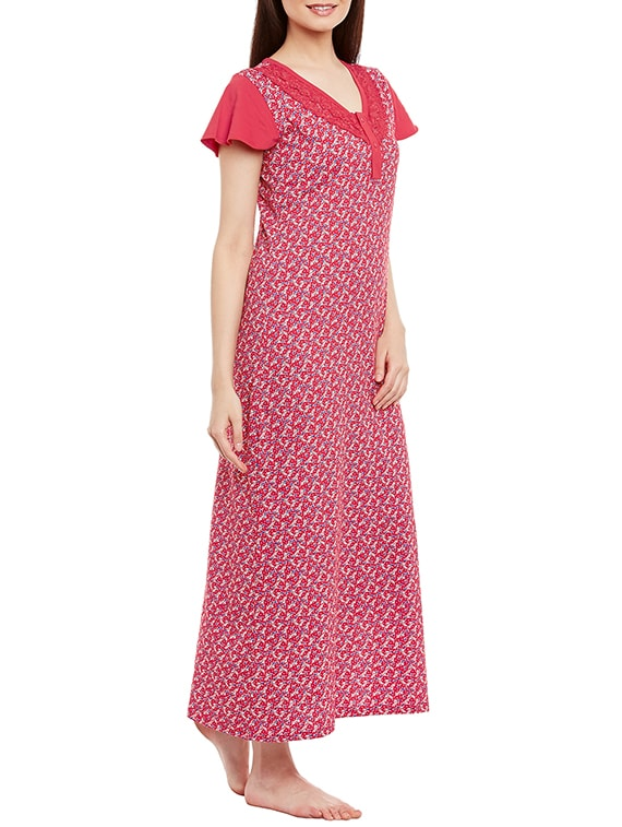 c92427f894 Buy Red Cotton Nighty by Claura - Online shopping for Sleepshirts   Nighties  in India
