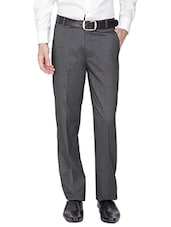 charcoal grey cotton flat front formal trouser -  online shopping for Formal Trousers