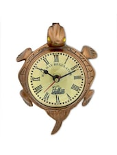 Brown Brass Antique Wall Clock - By