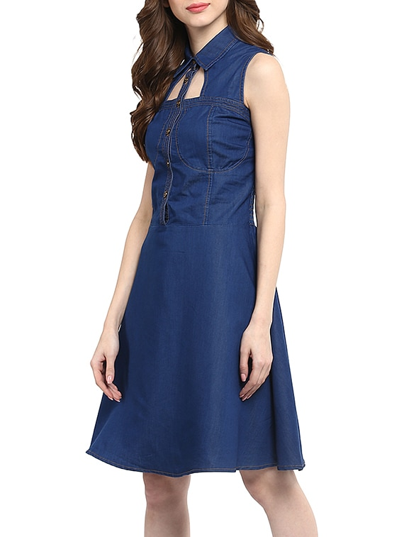 ec6220a5845e6 Buy Blue Denim Flared Dress for Women from Stylestone for ₹992 at 45% off |  2019 Limeroad.com