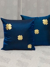 Blue Silk Floral Motif Cushion Cover Set - By