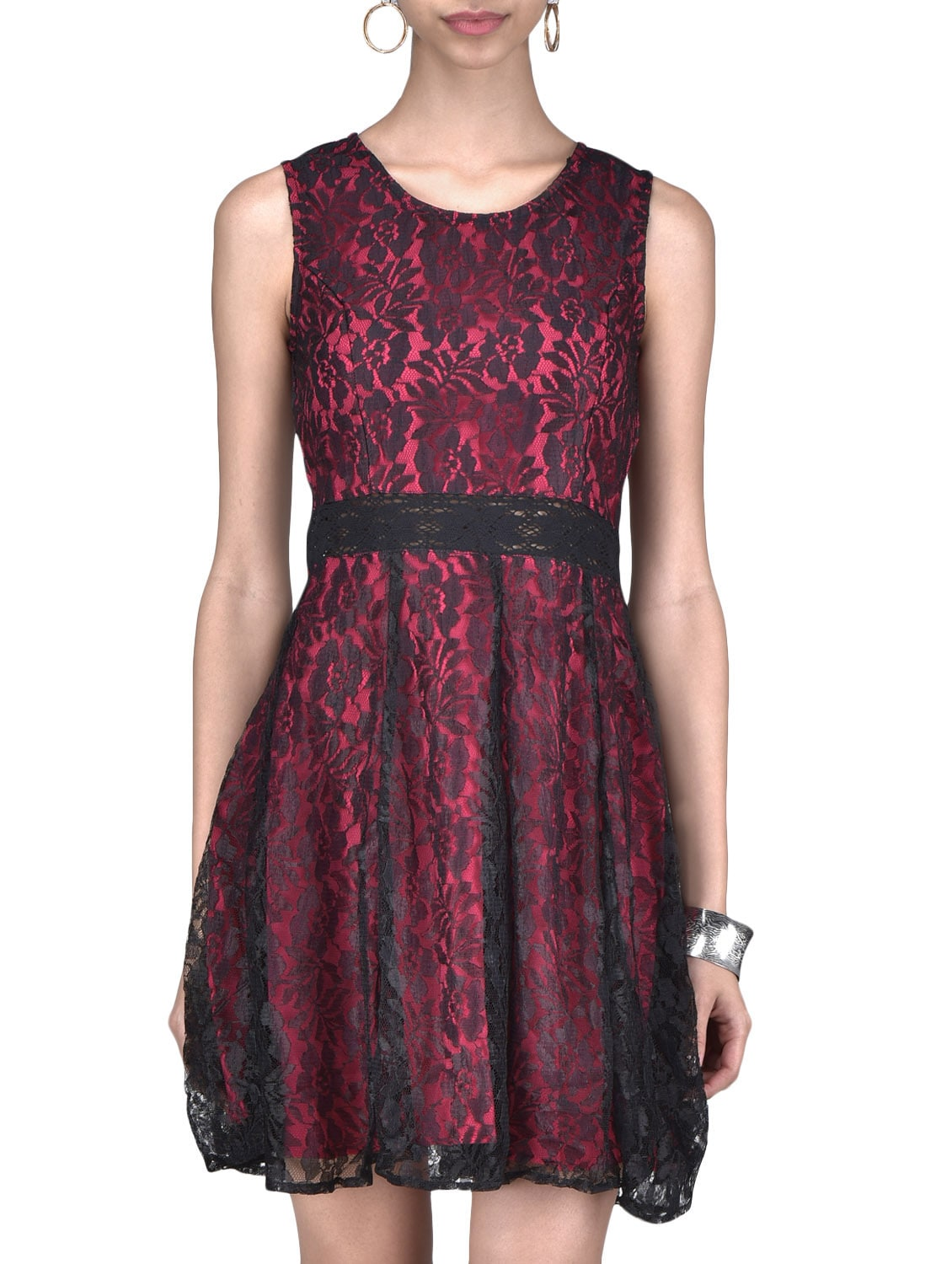 0b2394c11ef3 Buy Pink Crepe And Lace Floral Printed Sleeveless Dress by The Vanca -  Online shopping for Dresses in India