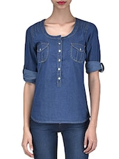 Blue Denim Solid Long Sleeved Top - By
