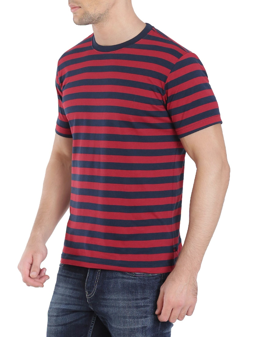 Buy Navy Blue Cotton Striped T-shirt by Jockey - Online shopping for T- shirts in India  72c751a01