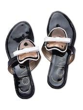 Black Faux Leather Embellished Flip Flops - By - 1312164