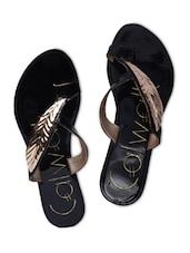 Black Faux Leather Embellished Flip Flops - By