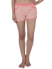 Peach Striped Cotton Jersey Shorts - By