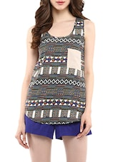 multi colored printed poly crepe top -  online shopping for Tops