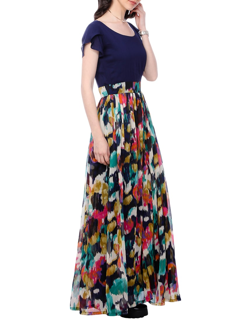6bfc5ce4c13a Buy Navy Blue Printed Maxi Dress for Women from Cation for ₹1427 at 49% off