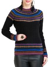 Black Printed Woolen Top - By