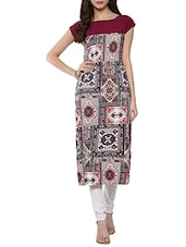 Multi Colored Poly Crepe Printed Straight Kurta - By