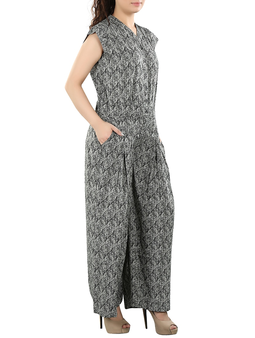 ff54369ba09 Buy Black Printed Polyester Jumpsuit by Aatmik - Online shopping for  Jumpsuits in India