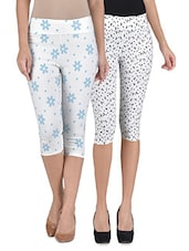 Multicolored Cotton And Spandex Printed Short Stretchable Capris Set - By