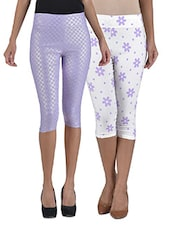 Multicolored Cotton And Spandex Floral Printed Short Stretchable Capris Set - By