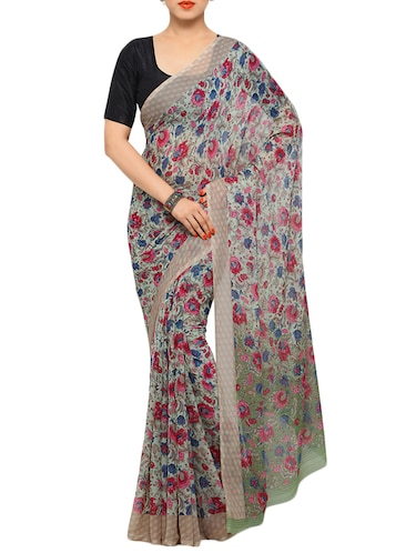 floral printed grey saree with blouse - 13148261 - Standard Image - 1