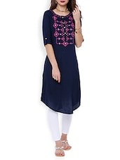 Blue Rayon Printed Asymmetric Kurta - By