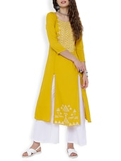 Yellow Rayon Aline Kurta - By