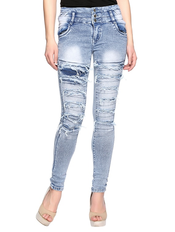 8400ee19d96 Buy Blue Distressed Jeans for Women from Fasnoya for ₹1362 at 32% off