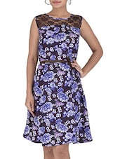 Black And Purple Printed Georgette Dress - By