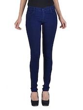 Dark blue stretchable jeans -  online shopping for Jeans