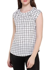 white checkered crepe regular top -  online shopping for Tops