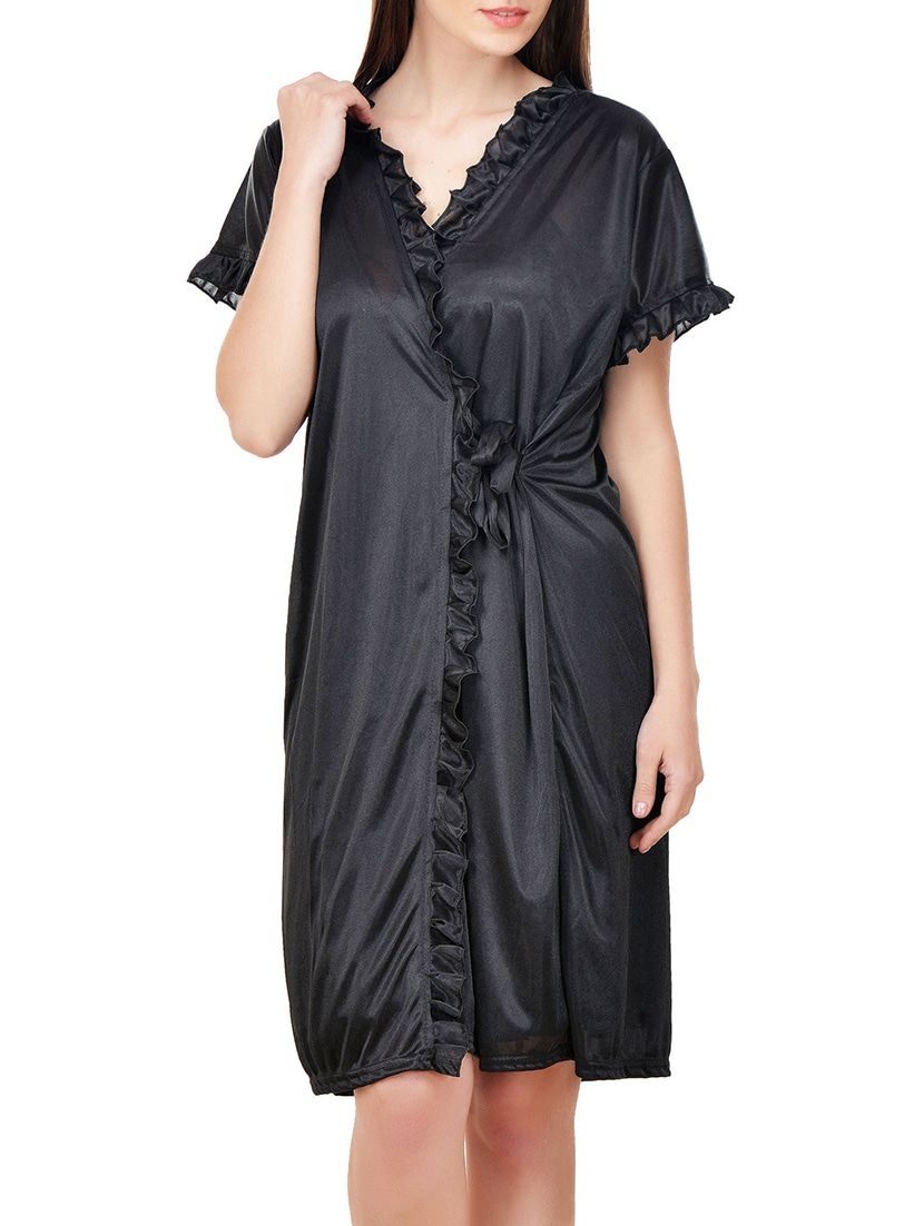 8a2fbc5964 Buy Black Satin Nighty And Robe Combo by Boosah - Online shopping for  Sleepshirts   Nighties in India