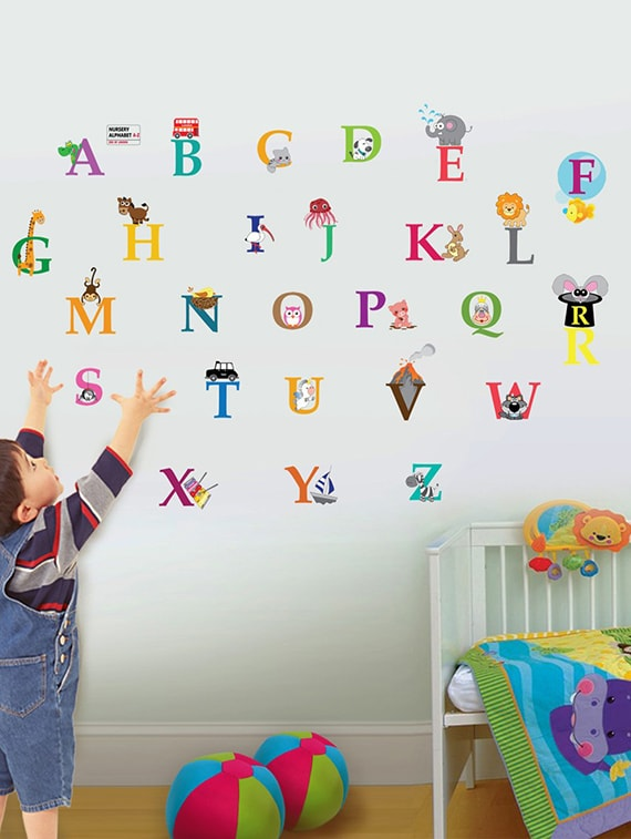 buy wall sticker (abcd,wall covering area 23 x 21 inch)
