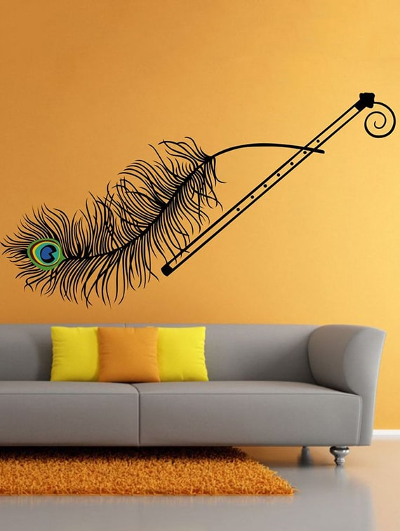 buy wall sticker (mor pankh,wall covering area 23 x 41 inch)