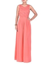 Pink Poly Georgette Pleated Maxi - By