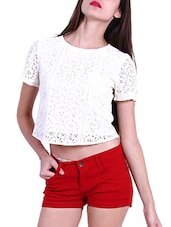 White Cotton Laced  Crop Top - By
