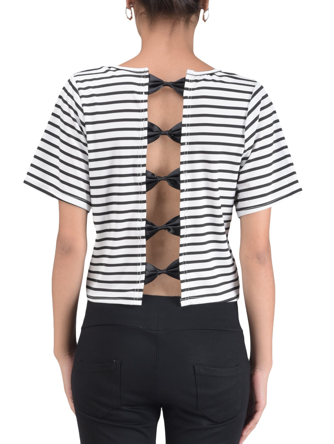 4ef01b8b087 Buy Black And White Striped Top for Women from Pink Lace for ₹999 at 41%  off   2019 Limeroad.com