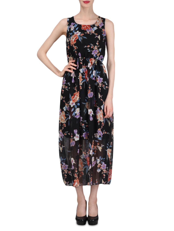 Black Floral Print Sleeveless Georgette Dress - By