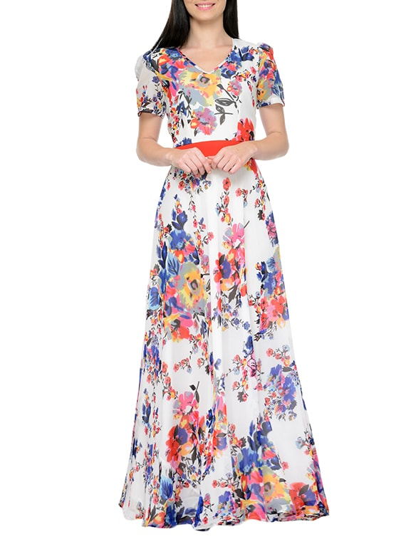 8a88560b24f Buy White Floral Printed Georgette Gown for Women from Just Wow for ₹1699  at 50% off