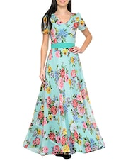 light blue floral georgette gown -  online shopping for Dresses
