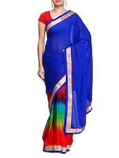 Blue Georgette Jacquard  Ombre Saree - By
