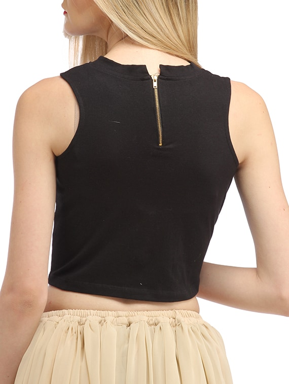 98e3c61cbd0271 Buy Solid Black Cotton Crop Top for Women from Cation for ₹400 at 56% off |  2019 Limeroad.com